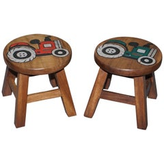 Lovely Pair of Toddlers Children's Solid Wood Stools with Little Tractors on