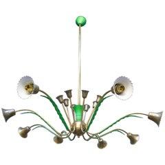 Italian 1950s Brass Chandelier
