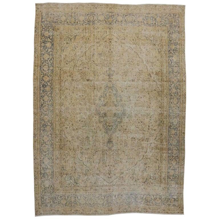 Rustic Rugs Topeka Ks: Distressed Antique Persian Kerman Rug With Modern