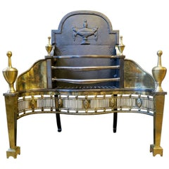 English 19th Century Brass and Steel Fire Grate