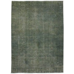 Distressed Vintage Persian Rug Overdyed with Modern Industrial Style