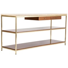 Midcentury Brass and Travertine Marble-Top Console Designed by Paul McCobb