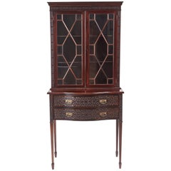 Antique Mahogany Blind Fret Display Cabinet