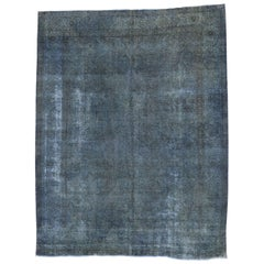 Vintage Overdyed and Distressed Blue Persian Rug with Traditional Modern Style
