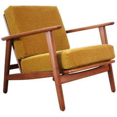 Danish Modern Reclining Lounge Chair in Ochre Mohair