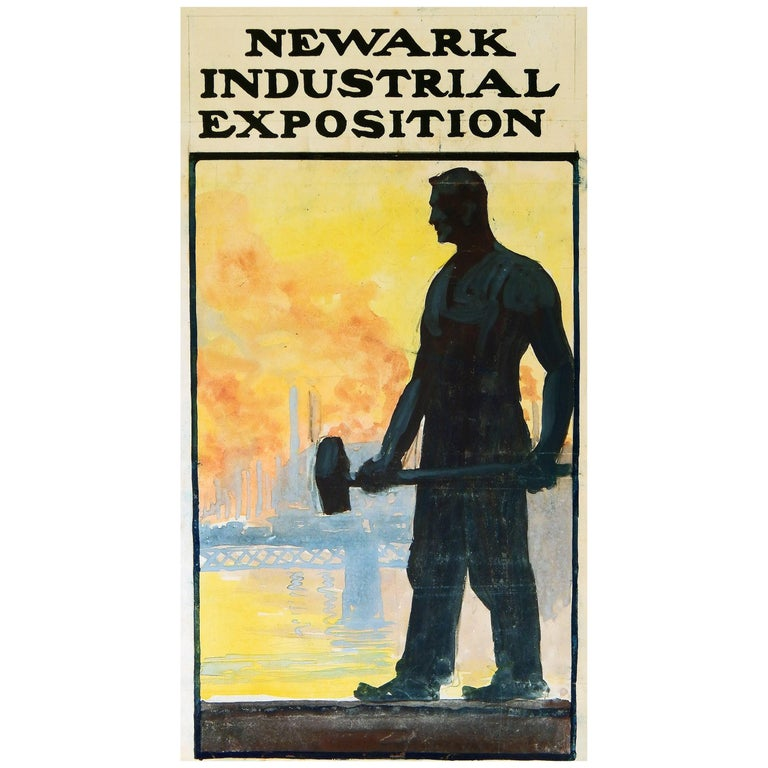 """Newark Industrial Exposition"", Poster Design Celebrating the American Worker For Sale"