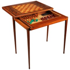 20th Century Scandinavian Rio Rosewood and Mahogany Game Table