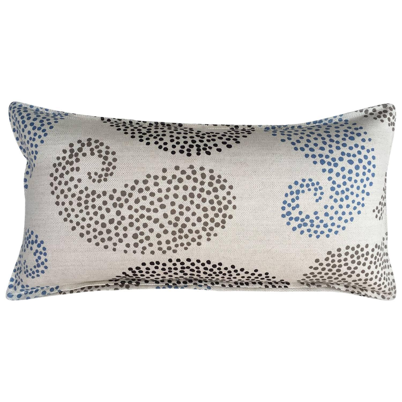 Charcoal Paisley on Wheat Cotton Linen Pillow