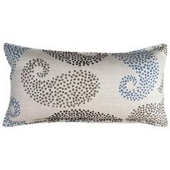 Charcoal Paisley on Wheat Cotton Linen Pillow