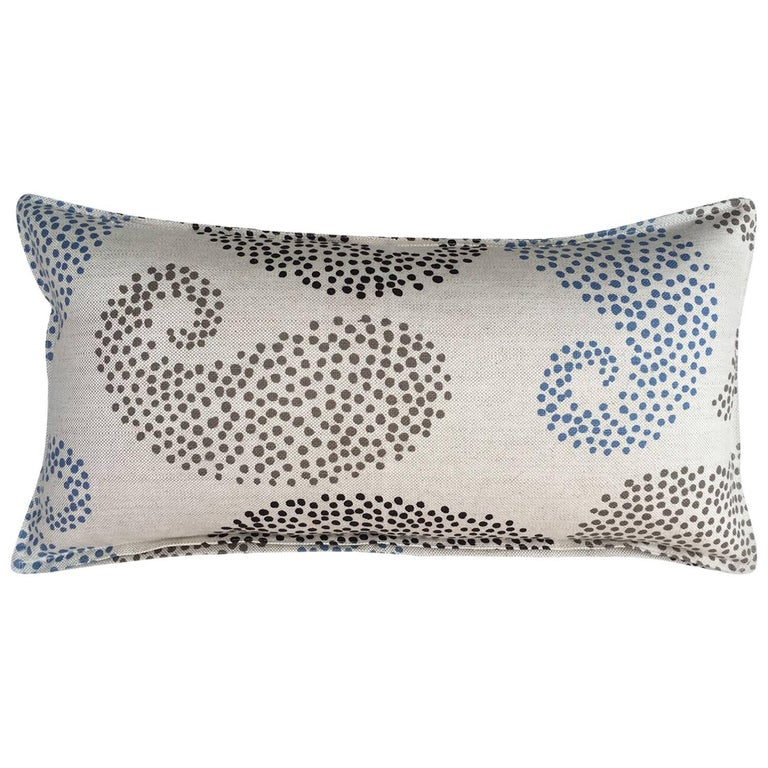Charcoal Paisley on Wheat Cotton Linen Pillow For Sale
