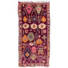 Vintage Colorful Purple Tribal Moroccan Carpet