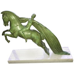 Art Deco Sculpture of Woman on a Horse by Charles from Le Verrier