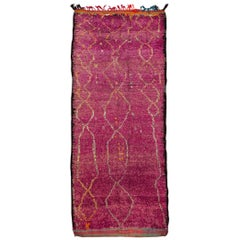 Vintage Abstract Purple Moroccan Carpet, 4.08x10.07