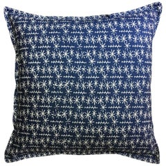 Indigo Star Ticket on Wheat Cotton Linen Pillow