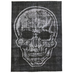 Distressed Vintage Charcoal Skull Area Rug Inspired by Alexander McQueen