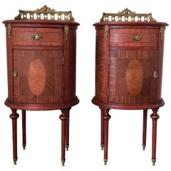 Louis XVI Style Pair of Marquetry Nightstands with Bronze Crest