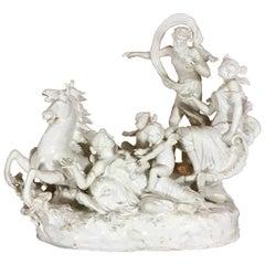Italian 19th Century Capodimonte Porcelain Full-Relief Porcelain with Poseidon