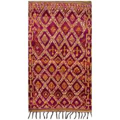 Vintage Colorful Purple Geometric Moroccan Carpet, 5.09x9.02