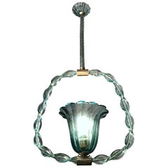 Charming 'Aquamarine' Murano Glass Chandelier by Ercole Barovier, 1940s