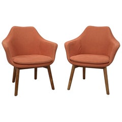 Pair of Orange Fabric Mid-Century Modern Armchairs in Style of Eero Saarinen