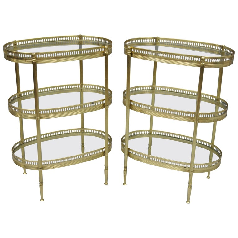 Petite Pair French Oval Brass Three-Tiered Small Side Tables after Maison Jansen