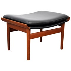 Finn Juhl for France and Son Black Leather and Teak Bwana Stool