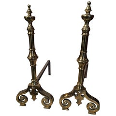 Pair of Polished Brass Chenets or Andirons with Decorative Scrolls, 19th Century