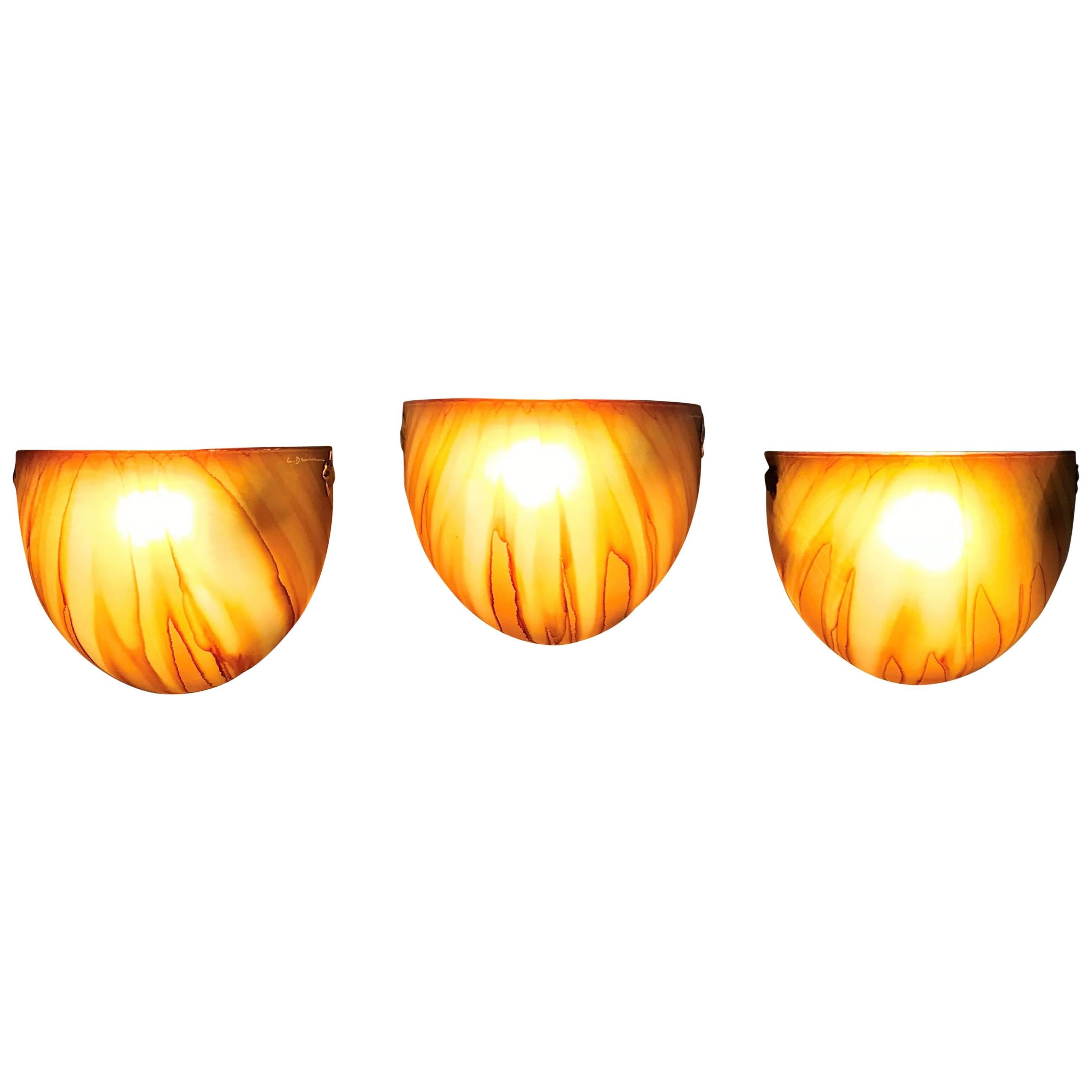 Three Mid-Century Modern Sconces by Louis Drimmer, France, circa 1970