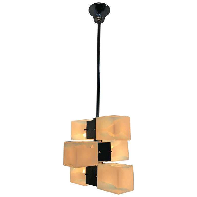 6 Light Mid-Century Modern Chandelier by Carlo Nason for Mazzega in Murano Glass
