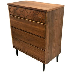 American Mid-Century Modern Walnut Tall Boy Chest of Drawers