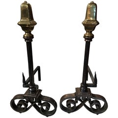 Pair of Polished Iron and Brass Chenets or Andirons, 19th Century