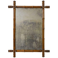 Faux Bamboo Wooden Mirror