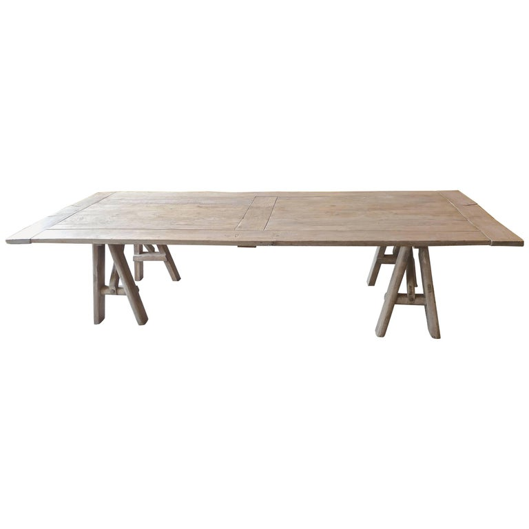 French 19th Century Pine Country Rustic Farmhouse Table on Two Saw Horses