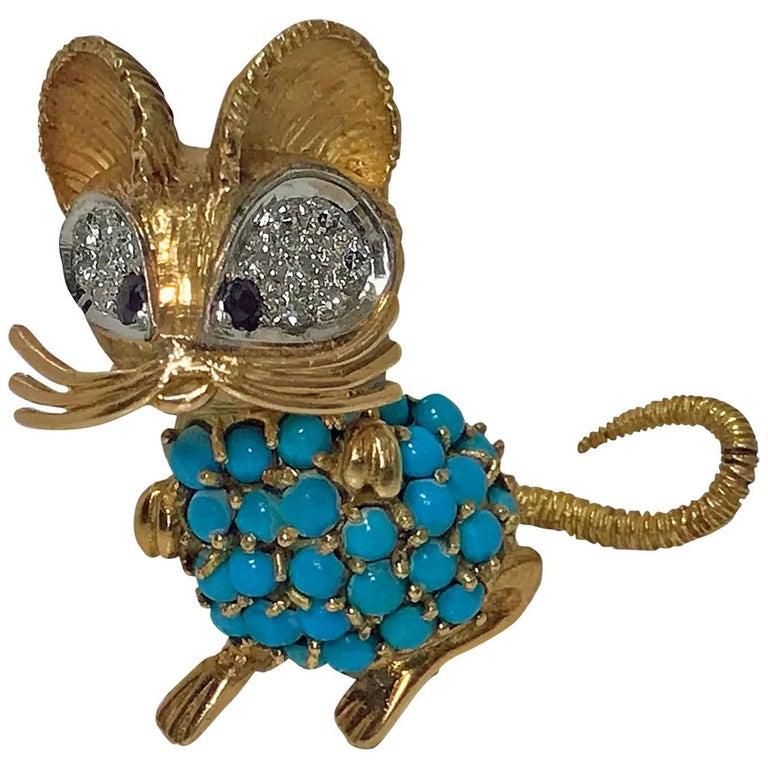 1970s Mouse Pin 18-karat Diamond Turquoise and Sapphire