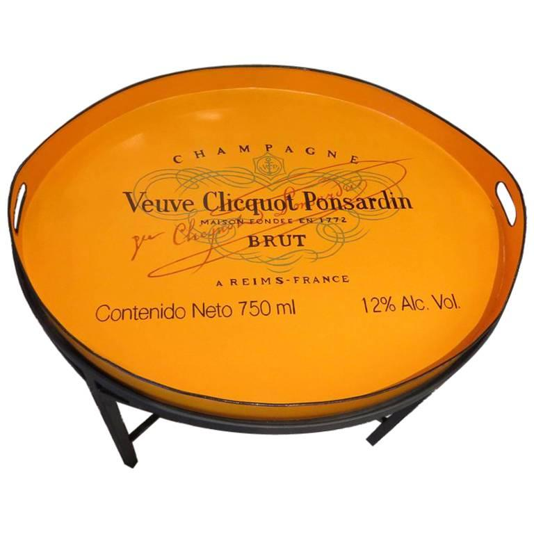 """Handled Tole Tray with Orange, """"Veuve Clicquot"""" Logo on Black Metal Table Stand"""