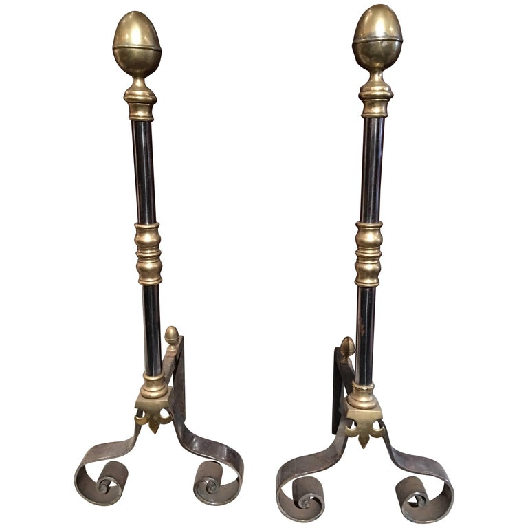 Pair of Iron and Brass Chenets or Andirons, 19th Century