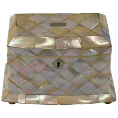 Antique English 19th Century Mother-of-Pearl Tea Caddy