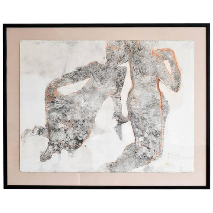 Abstract Charcoal and Pencil 'Yin and Yang' by California Artist Bernice Riley