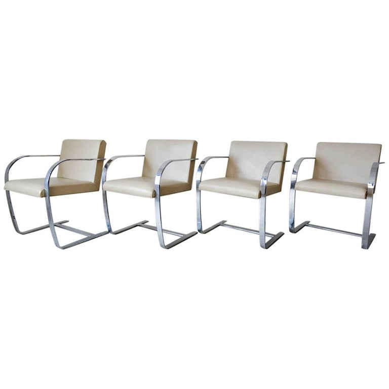 Set of Four Mies Van Der Rohe Brno Leather and Chromed Steel Chairs