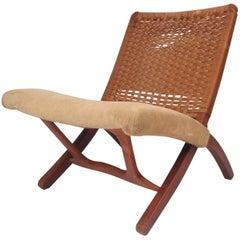 Mid-Century Modern Hans Wegner Style Folding Rope Chair