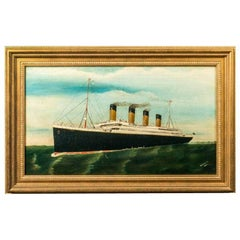 Original Oil Painting by D Beagles of the Titanic at Full Steam