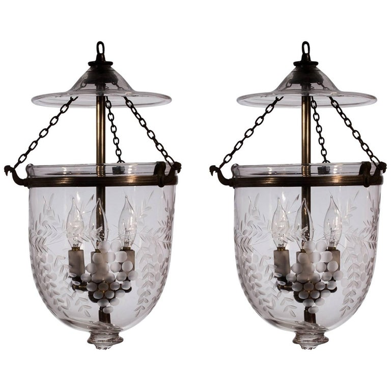 Pair of English Bell Jar Lanterns with Grape and Vine Etching