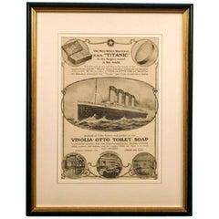 Orginal Advertisement for Vinola Otto Soap as Supplied to HMS Titanic
