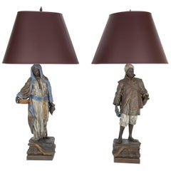 Large Pair of Polychrome Viennese Orientalist Cold Painted Spelter Lamps