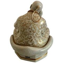 Royal Copenhagen Georg Thylstrup Crackle Figurine of Buda with Unique Dec