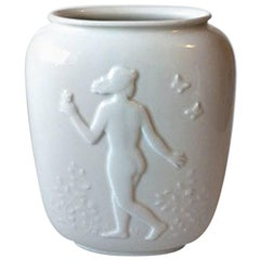 Royal Copenhagen Blanc de Chine Vase with Nude Young Man and Woman No. 4117