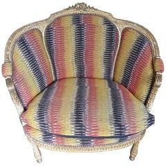 French Louis XVI Gold Painted Loveseat Upholstered with Contemporary Fabric