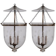 Pair of English Bell Jar Lanterns with Etched Stars