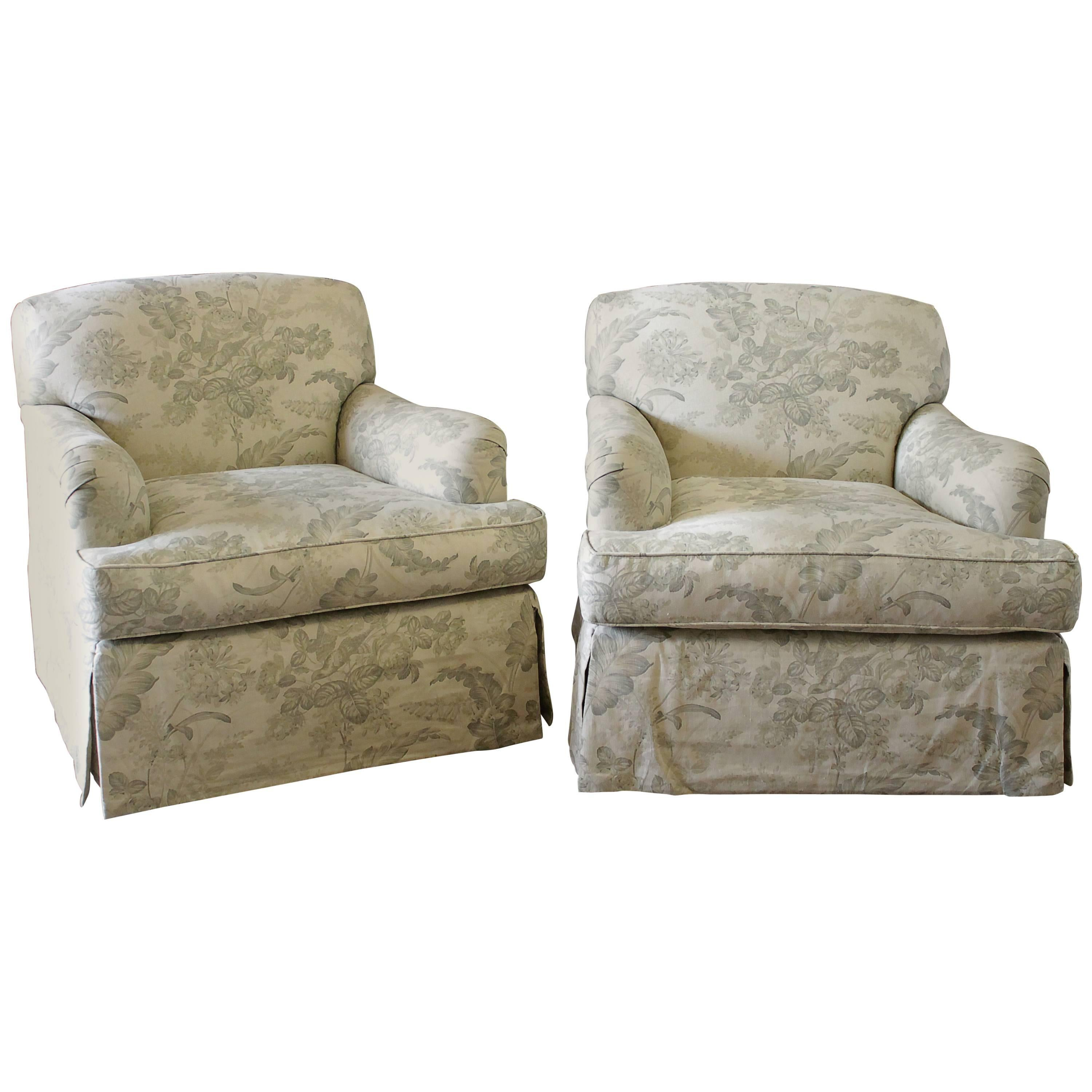 Pair Of Modern English Roll Arm Swivel Chairs In French Toile Linen  Upholstery For Sale