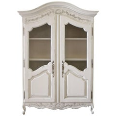 20th Century Vintage Country French Style Display Cupboard Armoire
